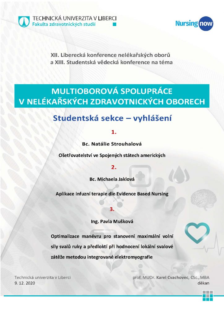 XIII. Studentská vědecká konference – vyhlášení studentské sekce